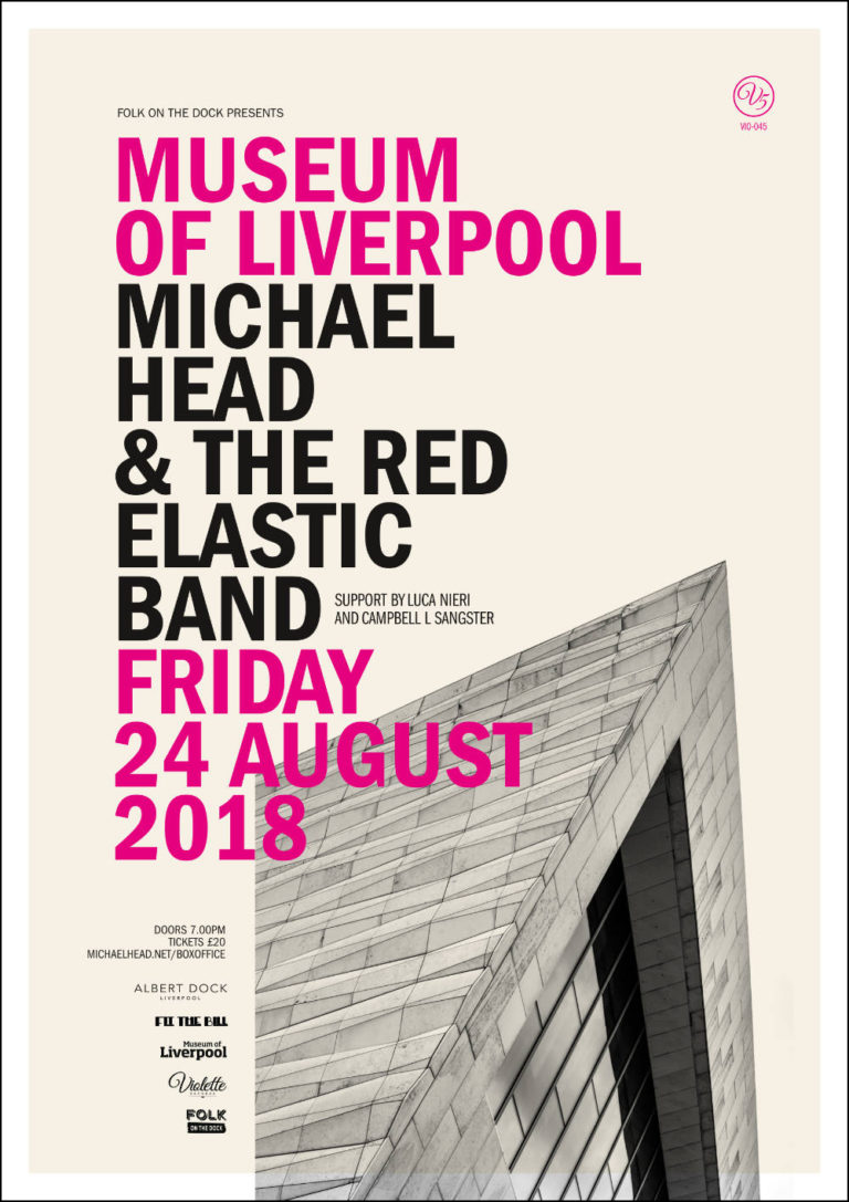Michael Head & The Red Elastic Band - Live at Museum of Liverpool - Gig Poster - Artwork by Pascal Blua - 2018